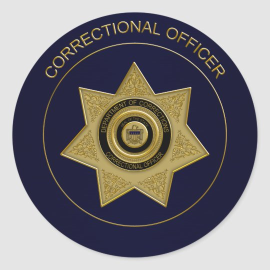 Superieur Correctional Officer Badge,Gold Blue Round Sticker