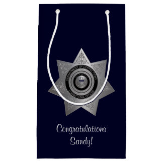 Correctional Officer Badge,Silver-Blue-Gift Bag S