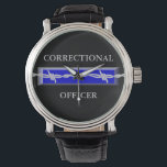 "Correctional Officer Logo Watch<br><div class=""desc"">The symbol of Correctional Officers is the face design of this watch. A blue line with barbed wire... .&quot;Keeping  them behind the fence!&quot;</div>"