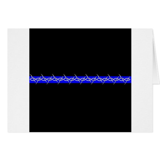 Corrections Barbed Wire Blue Line Greeting Card