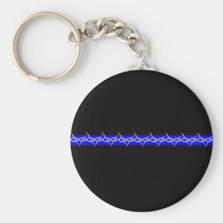 Corrections Barbed Wire Blue Line Basic Round Button Keychain