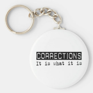 Corrections It Is Basic Round Button Keychain