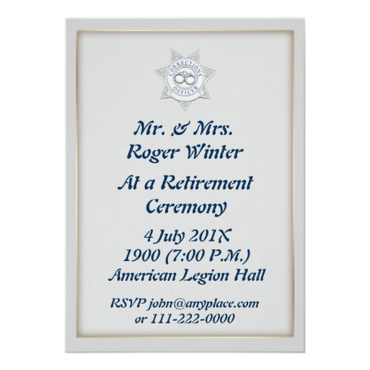 Corrections Officer Retirement Invitation  Zazzle