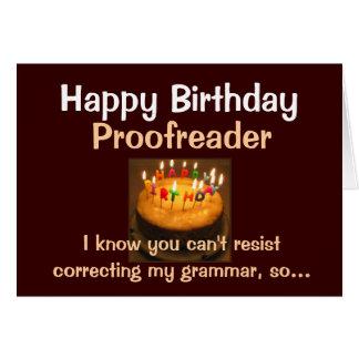 Corrector de pruebas del feliz cumpleaños tarjeta de felicitación