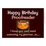 Corrector de pruebas del feliz cumpleaños tarjeton