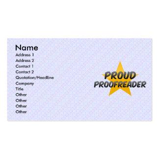 Corrector de pruebas orgulloso plantilla de tarjeta de negocio