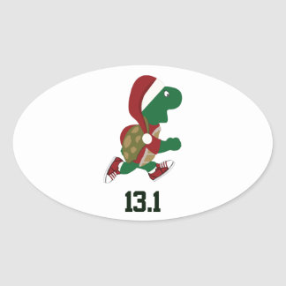 Corredor 13,1 de la tortuga del navidad pegatina ovalada