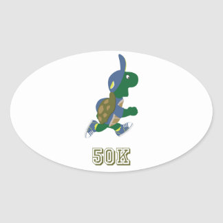 Corredor 50K - azul de la tortuga Calcomania Oval Personalizadas
