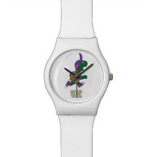 Corredor 5K - púrpura de la tortuga Relojes De Mano