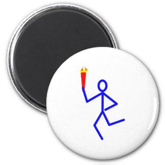 Corredor antorcha runner torch imán redondo 5 cm