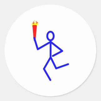 Corredor antorcha runner torch pegatina redonda
