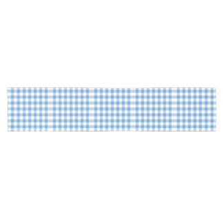 Corredor azul claro y blanco de la tabla del camino de mesa corto