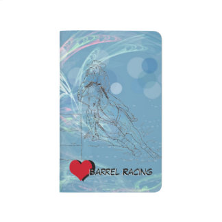 Corredor azul del barril del corazón de la lluvia cuadernos grapados
