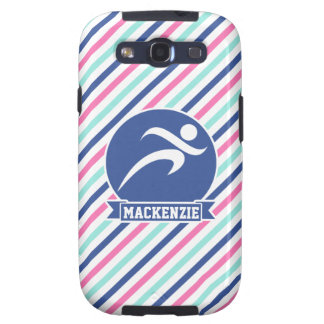 Corredor, corriendo; Rayas azules, rosadas, y Samsung Galaxy S3 Protector