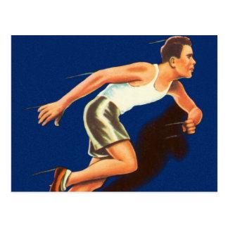 Corredor corriente del atletismo del vintage tarjeta postal