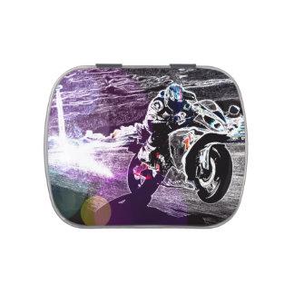 Corredor de la motocicleta del Grunge Frascos De Caramelos