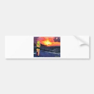 Corredor de la puesta del sol pegatina para auto