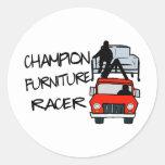 Corredor de los muebles del campeón pegatina redonda