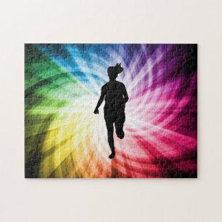 Corredor de maratón del chica puzzle