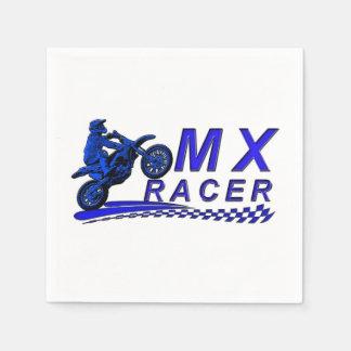 Corredor de Moto X con la bandera a cuadros Servilletas Desechables
