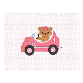 Corredor del oso de peluche rosa tarjeta postal