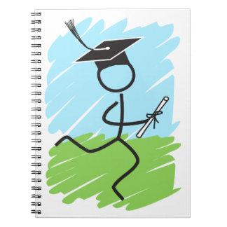 Corredor divertido de la graduación - campo a spiral notebook