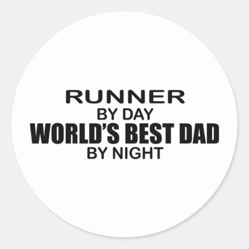 Corredor - el mejor papá del mundo por noche pegatina redonda