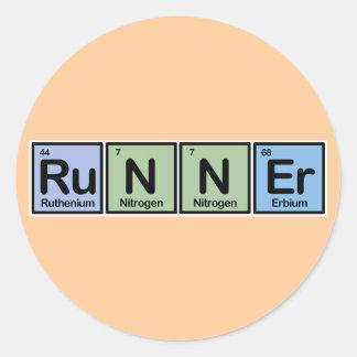 Corredor hecho de elementos pegatina redonda