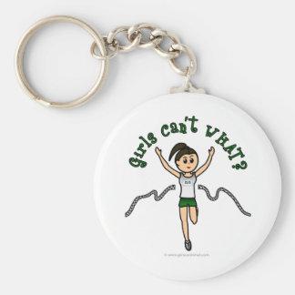 Corredor ligero del chica en uniforme del verde llaveros personalizados