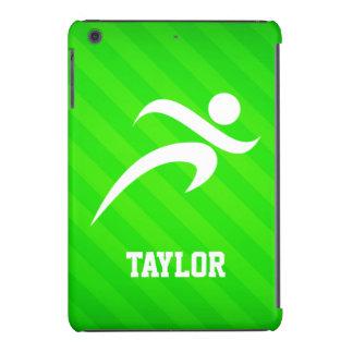 Corredor; Rayas verdes de neón Fundas De iPad Mini Retina