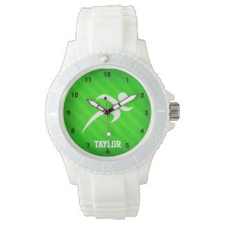Corredor; Rayas verdes de neón Reloj