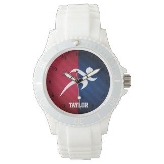 Corredor; Rojo, blanco, y azul Relojes