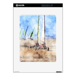 Corredores de Blokart en la playa iPad Calcomanías