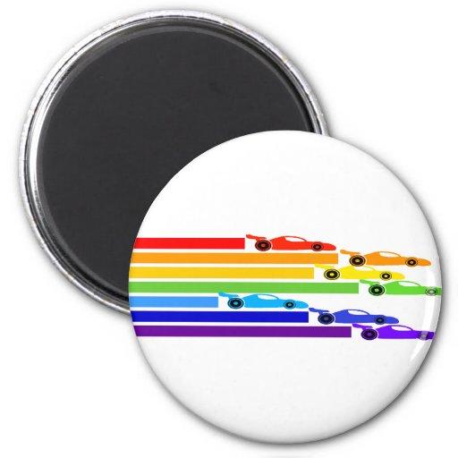 Corredores del arco iris imán redondo 5 cm