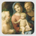 Correggio- la familia santa con el santo Jerome Pegatina Cuadrada