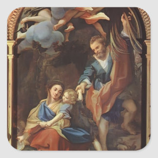 Correggio- Madonna della Scodella Square Stickers