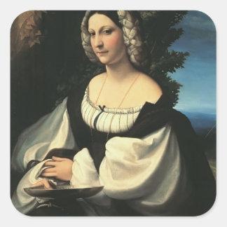 Correggio- Portrait of a Gentlewoman Square Stickers