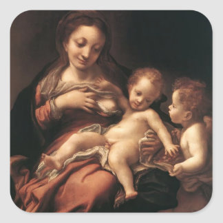 Correggio- Virgin and Child with an Angel Square Stickers