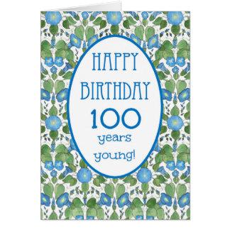 Correhuela azul, 100a tarjeta de cumpleaños del