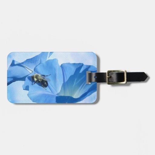 Correhuela azul y abejorro etiqueta para equipaje