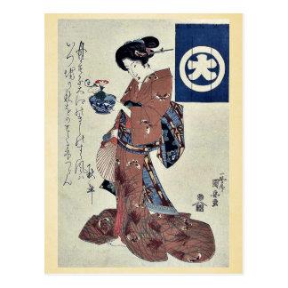 Correhuela que lleva de la belleza por Utagawa Ku Tarjeta Postal