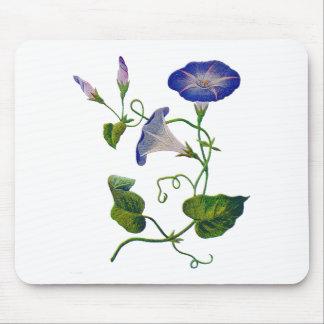 Correhuelas bordadas azul hermoso tapete de ratón