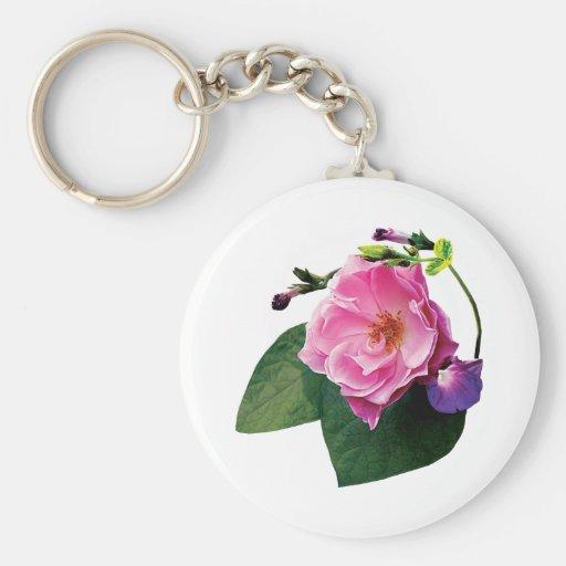 Correhuelas color de rosa y púrpuras rosadas llaveros personalizados