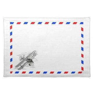 Correo aéreo del vintage mantel individual