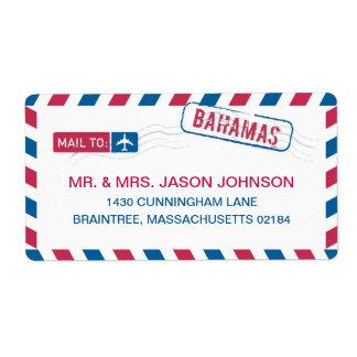Correo de la dirección del correo aéreo de Bahamas Etiquetas De Envío