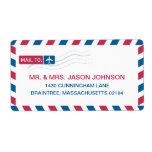 Correo de la dirección del correo aéreo etiqueta de envío