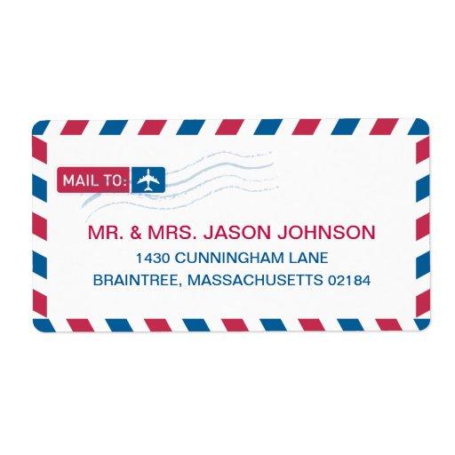 Correo de la dirección del correo aéreo etiquetas de envío