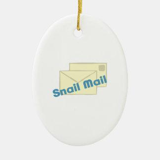 Correo de Letter_Snail Adorno Ovalado De Cerámica