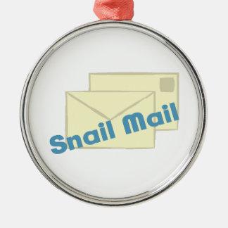 Correo de Letter_Snail Adorno Redondo Plateado