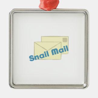 Correo de Letter_Snail Adorno Cuadrado Plateado